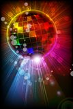 Shiny Disco Ball. Easy to edit vector illustration of shiny disco ball on abstract background Royalty Free Stock Photo