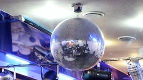Shiny disco ball on nightclub stock video footage