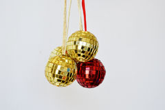 Shiny Disco Balls for christmas. On white background, year 2017 2018 2019 2020 stock photography