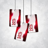 Shiny discount cards over christmas background Stock Photography