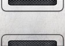 Shiny distressed metal frame on grunge background, 3d, illustrat Stock Image