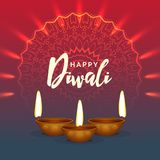 Shiny diwali festival greeting background. With mandala decoration vector illustration Royalty Free Stock Images