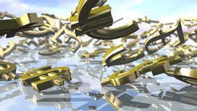Shiny dollar, euro, pound and yen money signs falling down. 3D rendering Stock Images