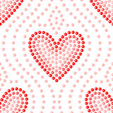 Shiny dot art red heart on white seamless pattern, vector. Background Royalty Free Stock Photo