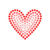 Shiny dot art red heart on white, vector illustration. Card template Royalty Free Stock Photo