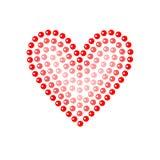 Shiny dot art red heart on white, vector illustration. Card template vector illustration