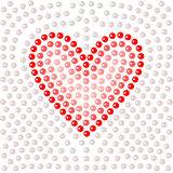 Shiny dot art red heart on white, vector illustration. Card template Royalty Free Stock Photography