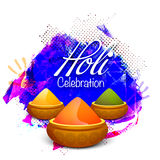 Shiny dry colours for Holi Festival celebration. Shiny dry colours in bowls on abstract background for Indian Festival, Happy Holi celebration Royalty Free Stock Photos