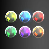 Shiny Earth globes in different colors. In editable vector format Stock Photos