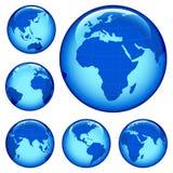 Shiny earth map. Shiny planet earth map from six views; illustration Royalty Free Stock Photos