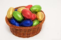 Shiny easter egg basket Royalty Free Stock Photo