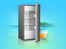 Shiny electronic refrigerator with beach ball. Royalty Free Stock Photo