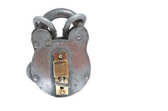 Shiny english padlock and chain. Antique heavy duty padlock and chain royalty free stock images