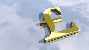 Shiny english Pound money sign. 3d rendering Stock Photo
