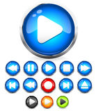 Shiny EPS10 Audio buttons /play button, stop, rec, rewind, eject, next, previous  buttons. Audio button  icons with transparent eps 10 drop shadows. All the Stock Photography