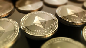 Shiny Ethereum crypto-currency background. Glossy Ethereum in blurred closeup. Crypto-currency finance and banking as concept Royalty Free Stock Image