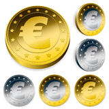 Shiny euro currency token coins Royalty Free Stock Photography