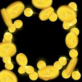 Shiny falling golden coins isolated on black background. Vector illustration. Shiny falling golden coins isolated on black background. Vector illustration Stock Photography