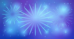 Shiny festive fireworks. With stars light glowing sparkling effects on blue background. Vector illustration Royalty Free Stock Images