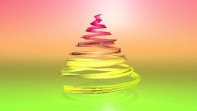 A shiny festive ribbon forms a Christmas tree symbol that rotates. 3d render of Christmas bright composition. Seamless. A shiny festive ribbon forms a Christmas stock footage