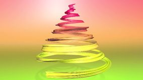 A shiny festive ribbon forms a Christmas tree symbol that rotates. 3d render of Christmas bright composition. Seamless. A shiny festive ribbon forms a Christmas stock video