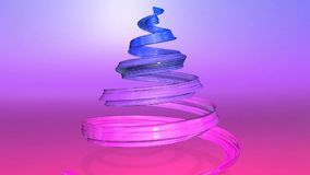 A shiny festive ribbon forms a Christmas tree symbol that rotates. 3d render of Christmas bright juicy composition. A shiny festive ribbon forms a Christmas tree stock video