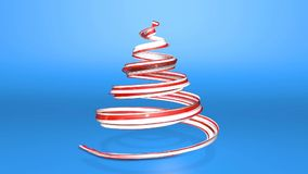 A shiny festive ribbon forms a Christmas tree symbol that rotates. 3d render of Christmas bright juicy composition. A shiny festive ribbon forms a Christmas tree stock video footage