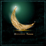 Shiny filigree decorative crescent moon and stars over dark grunge background. For holy month of muslim community Ramadan Kareem Stock Photos