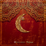 Shiny filigree decorative crescent moon and stars over dark grunge background. For holy month of muslim community Ramadan Kareem Royalty Free Stock Photography