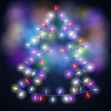 Shiny fir tree with Christmas lights on blackboard background. Vector illustration Royalty Free Stock Photo