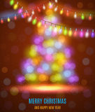 Shiny fir tree with Christmas lights. Glowing Lights - Colorful Fairy Lights Background. Christmas Lights Background. template design. Vector illustration Stock Image
