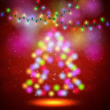 Shiny fir tree with Christmas lights. Vector illustration Stock Photo
