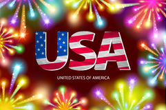 Shiny firecrackers on red and blue background for 4th of July, American Independence Day celebrations. vector. Art Stock Images