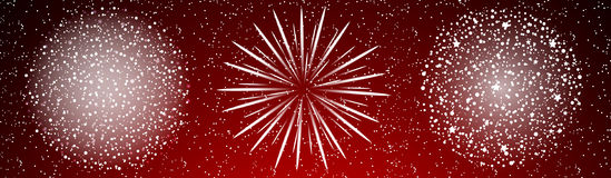 Shiny firework background. Shiny fireworks on red background.  Vector illustration Royalty Free Stock Image