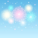 Shiny firework. Shiny colorful firework in the blue sky, illustration Stock Photo