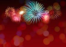 Shiny Fireworks background Stock Photos