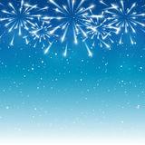 Shiny fireworks on blue. Background Stock Image