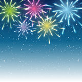 Shiny fireworks on blue. Background Stock Photo