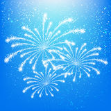 Shiny fireworks. On blue sky background Stock Photos