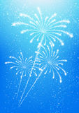 Shiny fireworks. On blue sky background Stock Images