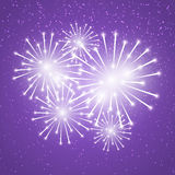 Shiny fireworks on purple Royalty Free Stock Photography