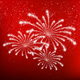 Shiny fireworks on red. Background Stock Photography