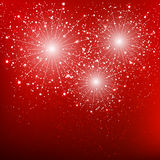 Shiny fireworks on red background Royalty Free Stock Photo