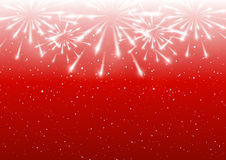 Shiny fireworks on red. Background Royalty Free Stock Images