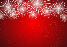 Shiny fireworks on red background. Shiny fireworks on red sky background Stock Images