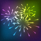 Shiny fireworks Stock Photography