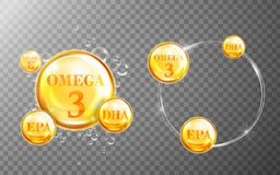 Shiny fish oil nutritions. Shiny fish oil nutrition, omega 3, epa and dha for good health  on transparent background. 3D illustration Stock Photography
