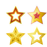 Shiny five-pointed stars of several designs illustrations set Royalty Free Stock Photo