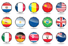 Shiny flag buttons. Set in white background Royalty Free Stock Images