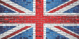 Shiny flag of Great Britain on a brick wall. Illustration,nFlag of United Kingdom in brick style vector illustration